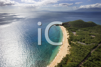 Royalty Free Photo of an Aerial of a Coastline With Sandy Beaches and Pacific Ocean in Maui, Hawaii