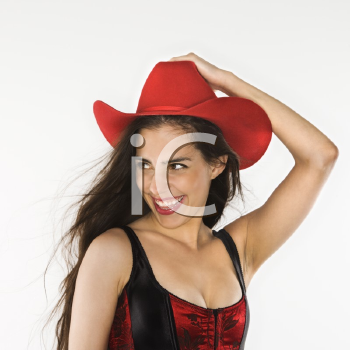 Royalty Free Photo of a Woman Wearing a Corset and Cowboy Hat