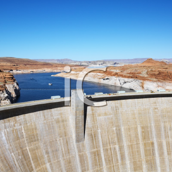 Royalty Free Photo of a Landscape of Top of Glen Canyon Dam on Colorado River in Arizona