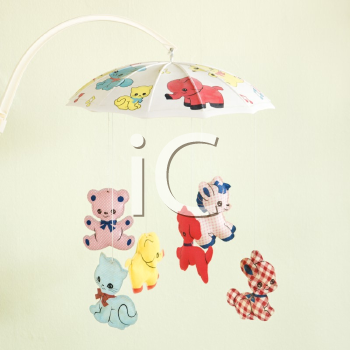 Royalty Free Photo of a Vintage Baby Mobile With Animals