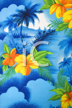 Close-up of bright blue Hawaiian vintage fabric with orange hibiscus flowers printed on polyester.