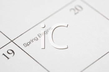 Royalty Free Photo of a Calendar Displaying the Beginning of Spring