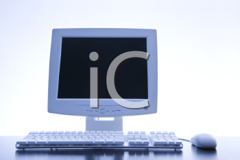 Royalty Free Photo of a Computer Monitor, Keyboard and Mouse