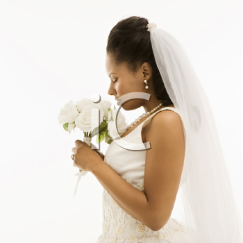 Royalty Free Photo of an African-American Bride on a White Background