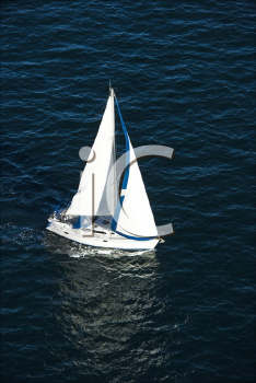 Royalty Free Photo of an Aerial View of a Sailboat at Sea in Sydney, Australia