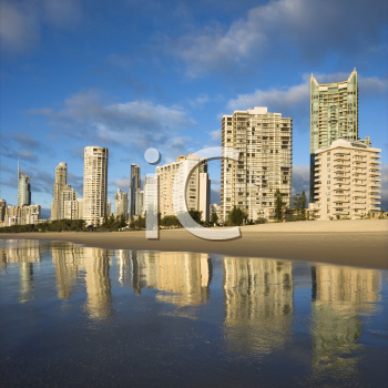 Royalty Free Photo of Beachfront High Rise Buildings on Surfers Paradise, Australia