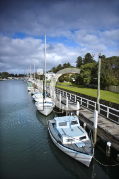 Royalty Free Photo of Boats at a Dock in Australia