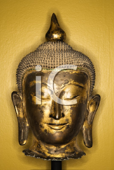 Royalty Free Photo of a Bronze Buddha Head from Thailand