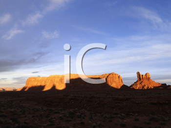 Royalty Free Photo of Mesas in Monument Valley Near the Border of Arizona and Utah, United States