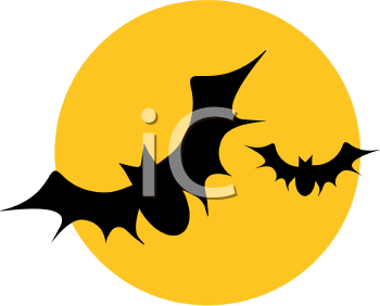 Royalty Free Clipart Image of Bats Flying by the Moon