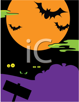 Royalty Free Clipart Image of a Spooky Halloween Night Background