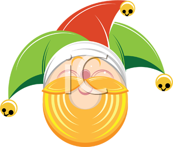 Royalty Free Clipart Image of a Bearded Elf Wearing a Jester's Cap
