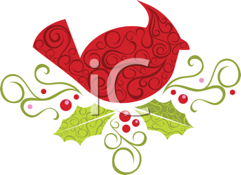 Royalty Free Clipart Image of A Cardinal In A Nest With Holly And Ivy