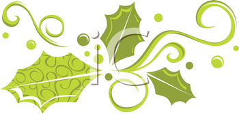 Royalty Free Clipart Image of Green Holly Swirls