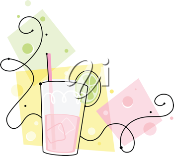 Royalty Free Clipart Image of a Glass of Pink Lemonade