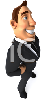 Royalty Free Clipart Image of a Businessman With His Hands on His Hips