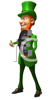 Royalty Free 3d Clipart Image of a Leprechaun Holding a Large Euro Sign