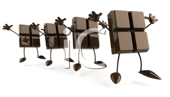 Royalty Free Clipart Image of a Row of Chocolate Pieces Jumping and Waving