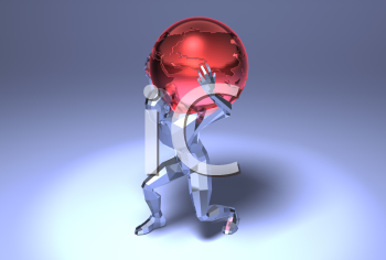 Royalty Free 3d Clipart Image of a Man Carrying a Red Globe on His Back