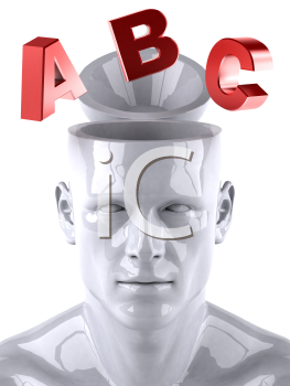 Royalty Free 3d Clipart Image of a Male Thinking About the Alphabet