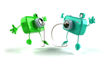 Royalty Free 3d Clipart Image of Jumping Cameras