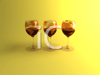 Royalty Free 3d Clipart Image of a Three Glasses of Red Wine
