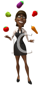 Royalty Free Clipart Image of a Girl Juggling Vegetables
