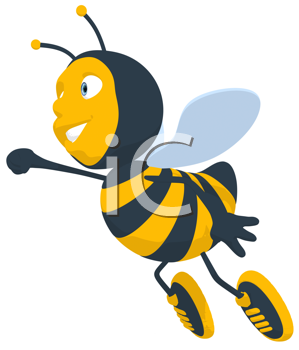 Royalty Free Clipart Image of a Flying Bee