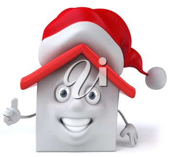 Royalty Free Clipart Image of a House in a Santa Hat Giving Thumbs Up