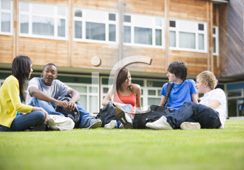 Royalty Free Photo of Students Outside on the Lawn