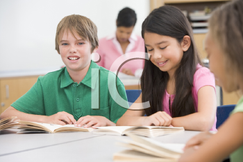 Royalty Free Photo of Students Reading in Class