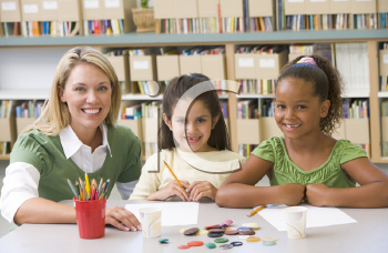 Royalty Free Photo of Girls With a Teacher