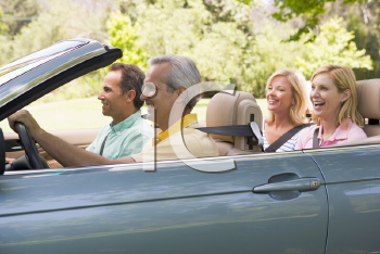 Royalty Free Photo of Two Couples in a Convertible