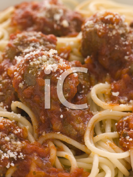 Royalty Free Photo of Spaghetti and Meatballs Closeup