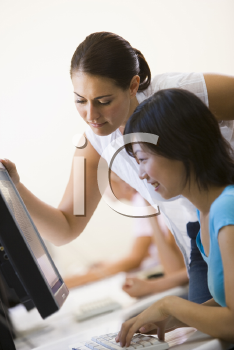 Royalty Free Photo of Two Women at a Computer