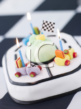 Royalty Free Photo of a Racing Car Birthday Cake