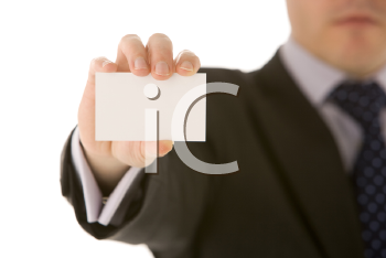 Royalty Free Photo of a Man Holding a Business Card