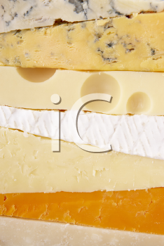 Royalty Free Photo of a Stack of Cheeses