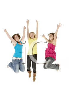 Group Of Three Young Girls Leaping In Air