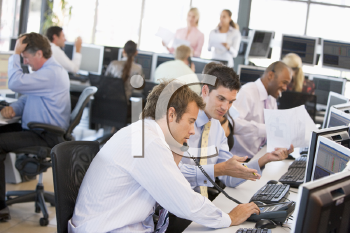 Royalty Free Photo of Stock Traders at Work
