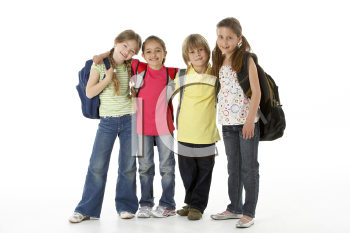 Royalty Free Photo of a Group of Children With Schoolbags