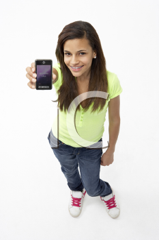 Portrait of Smiling Teenage Girl Holding Mobile Phone