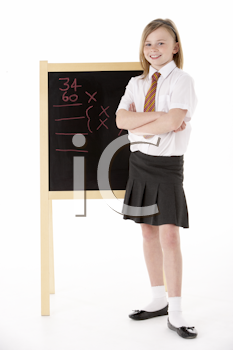 Thoughtful Female Student Wearing Uniform Next To Blackboard