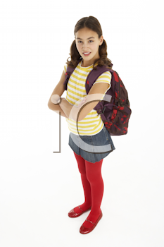 Studio Portrait Of Young Girl With Backpack
