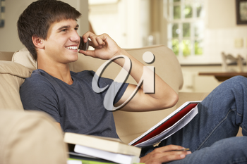 Teenage Boy Sitting On Sofa At Home Doing Homework Using Mobile Phone