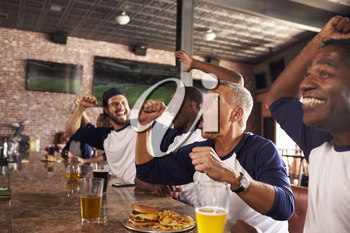 Male Friends In Sports Bar Watch Game And Celebrate