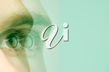Mental Health Concept With Close Up Composite Shot Of Duplicated Male Eye