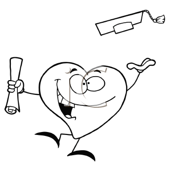 Royalty Free Clipart Image of a Graduating Heart
