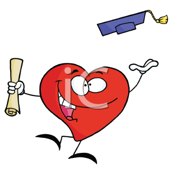 Royalty Free Clipart Image of a Heart Throwing a Mortarboard and Holding a Diploma