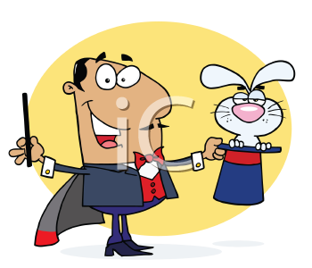 Royalty Free Clipart Image of a Magician With a Rabbit in a Hat